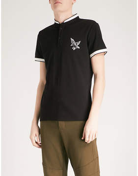 The Kooples Embroidered eagle officer-collar cotton-piqué polo shirt