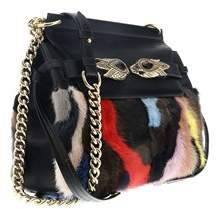 Roberto Cavalli Black/multicolor Mink Patch Shoulder Bag
