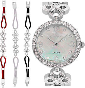 Croton Womens Silver Tone 4-pc. Watch Boxed Set-Cn407567rhmp