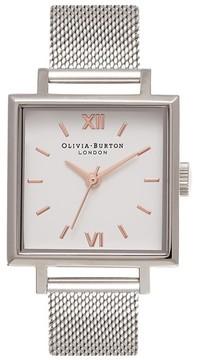 Olivia Burton Women's Big Square Mesh Strap Watch, 30Mm