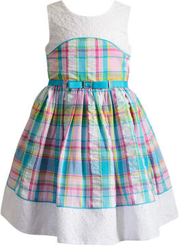 Sweet Heart Rose Eyelet-Trim Plaid Dress, Little Girls
