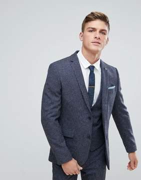 Farah Smart Skinny Wedding Suit Jacket In Navy Fleck