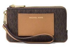 MICHAEL Michael Kors Van Double Zippered Leather Wristlet - VANILLA - STYLE
