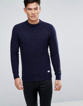 Jack Wills Ditteridge Donegal Cable Knit Sweater In Navy