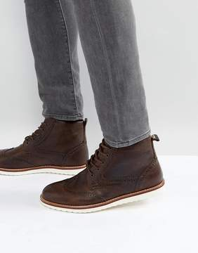 Red Tape Brogue Boots Brown Leather