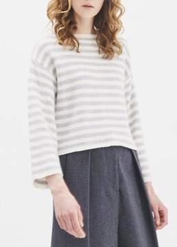 Demy Lee Cortex Stripe Sweater White Heather Grey
