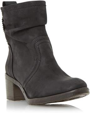 Dune London POLIZZI - BLACK Ruched Leather Ankle Boot