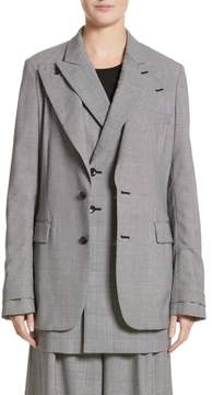 Comme des Garcons Check Open Back Wool Blazer