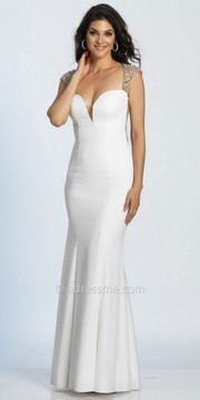 Dave and Johnny Sweetheart Cap Sleeve Trumpet Embellished Evening Dress