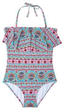 Hula Star Girl's Ruffled Printed One-Piece Swimsuit