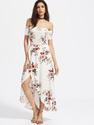 Bardot Shirred Overlap Asymmetrical Dress