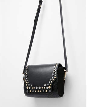Express studded snakeskin cross body bag