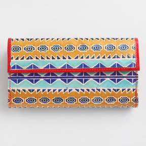 World Market Yellow Geometric Leather Wallet