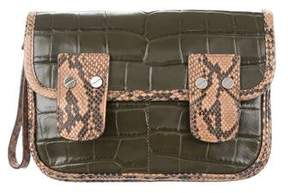 Michael Kors Snakeskin-Trimmed Leather Clutch - ANIMAL PRINT - STYLE