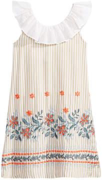 Bonnie Jean Ruffle-Neck Embroidered Dress, Little Girls