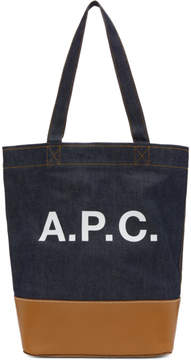 A.P.C. Blue and Tan Axel Tote