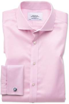 Charles Tyrwhitt Extra Slim Fit Spread Collar Non-Iron Puppytooth Light Pink Cotton Dress Shirt French Cuff Size 14.5/33
