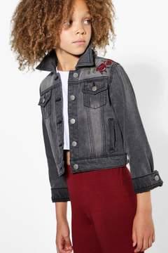 boohoo Girls Washed Grey Embroidered Jacket