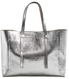 MANGO Argente Metallic Faux Leather Shopper