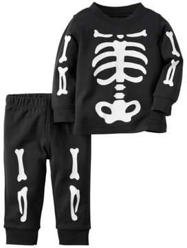 Carter's Infant Boys 2-Piece Halloween Skeleton Long Sleeve Shirt & Pants Set NB