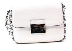 Michael Kors Black Silver Leather Large Piper Flap Shoulder Bag - BLACKS - STYLE