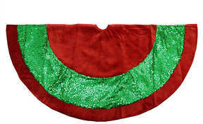 Asstd National Brand 48 Green Holographic Sequined Christmas Tree Skirt with Red Velveteen Trim