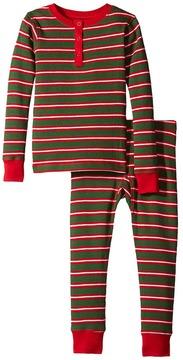 Hatley Santa Stripes Waffle Henley PJ Set Boy's Pajama Sets