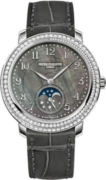 Patek Philippe Complications Black Mother of Pearl Dial Diamond Bezel 18kt White Gold Leather Ladies Watch