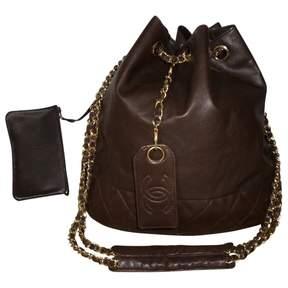 Chanel Vintage Brown Leather Handbag