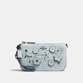 COACH Coach Nolita Wristlet 19 With Tea Rose Tooling - DARK GUNMETAL/PALE BLUE - STYLE