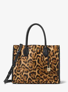Michael Kors Mercer Leopard Calf Hair Tote - BROWN - STYLE