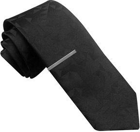 Jf J.Ferrar JF Tonal Graphic Skinny Tie with Tie Bar