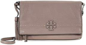 Tory Burch McGraw Pebbled Leather Foldover Crossbody Bag- Silver Maple - ONE COLOR - STYLE