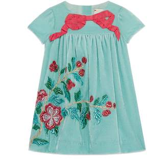 Gucci Baby velvet dress with embroidery
