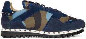 Valentino Blue Garavani Camo Rockrunner Sneakers