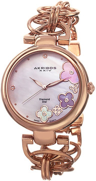 Akribos XXIV Light Rose-Tone Ladies Watch