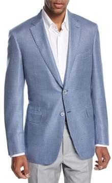 Brioni Check Wool-Silk Two-Button Sport Coat, Blue/White