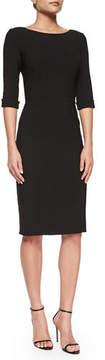 Carolina Herrera Princess-Seamed Rolled-Cuff Sheath Dress