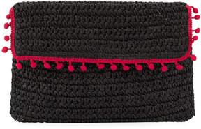San Diego Hat Company Flap Pompom Rectangular Clutch, Black