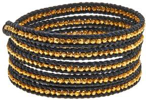Chan Luu Gold-Plated Bead Black Leather Multi Wrap Bracelet