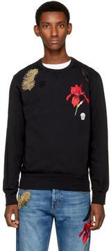 Alexander McQueen Black Iris and Feather Patch Sweatshirt