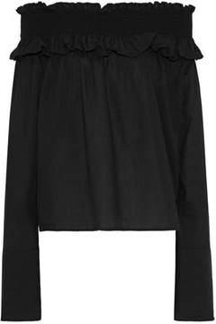 Clu Off-The-Shoulder Shirred Cotton-Gauze Top