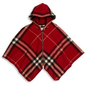 Burberry Girl's Wool & Cashmere Check Zip Cape