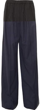 Dion Lee Checked Wool-blend And Shell Wide-leg Pants - Navy