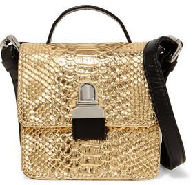 MM6 Maison Margiela Metallic Faux Snake-Effect Leather Shoulder Bag