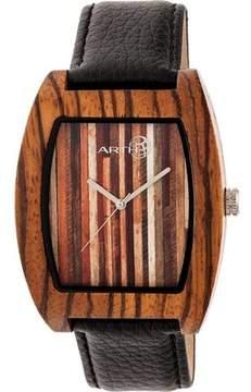 Earth Wood Cedar Leather-Band Watch