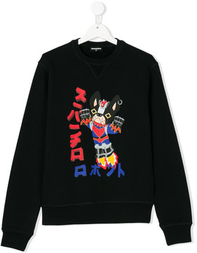 DSQUARED2 Teen bulldog print sweatshirt