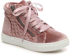 Steve Madden Girls Cafinev Velvet Youth High-Top Sneaker