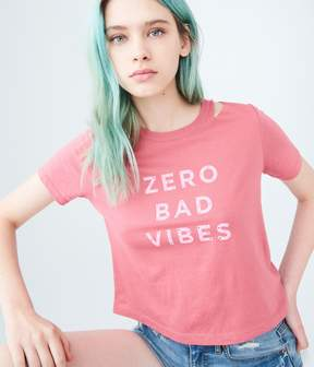 Aeropostale Zero Bad Vibes Slashed Crop Graphic Tee