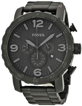 Fossil Nate Chronograph Black Dial Black Ion-plated Men's Watch
